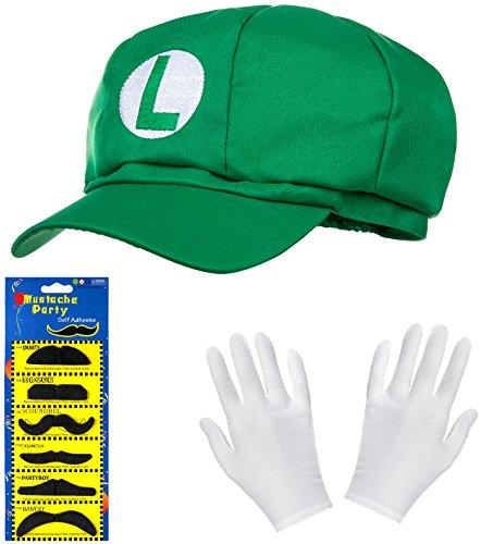 (Luigi Mütze grün im Komplettset mit weißen Handschuhen und Klebe-Bärten für Erwachsene und Kinder Karneval Fasching Motto Party Verkleidung Kostüm Mützen Hut Cap Herren Damen Kappe)