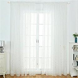UEB Rideaux Salon de Fenêtre de Tulle d'impression d'étoile Drape Purdah à la Maison Chambre à Coucher pour Enfant Adulte Rideau Occultant Rideau Voilage 100 * 200 cm Blanc