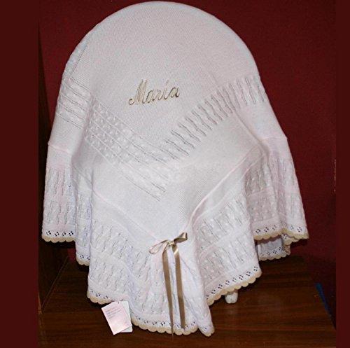 PRIMERAEDAD/toquilla con volante en lana combinada rosa camel personalizada con nombre