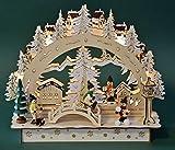 yanka-style LED - Schwibbogen Lichterbogen Leuchter Winterkinder aus Holz innenbeleuhtet ca. 30 cm breit Weihnachten Advent Geschenk Dekoration (20667)