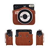 Phetium Protective Case Compatible with Instax Square SQ6 Instant Camera, Soft PU Leather Bag with Removable/Adjustable Shoulder Strap (Brown)