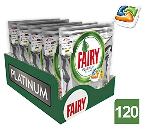 Fairy platinum detersivo in caps per lavastoviglie, confezione da 120 pastiglie (24 x 5), arancia