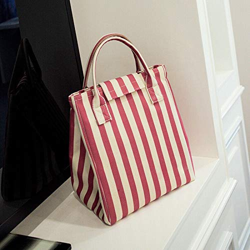 ZHAOLV Mode Erwachsene Frauen Damen Muticolor mädchen tragbare isolierte lunchpaket Box Picknick Tote (Color : Red Stripe) -