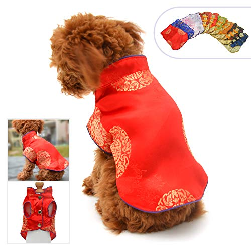 Lovelonglong 2019 Hundekostüme Cheongsam Qipao Kleider für kleine Hunde Katzen Haustiere Tang Dynastie Kostüm, M (for small Dog), Rot-2 (Party Tags Supplies Dog)