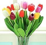 10 Stück Qualität PU Kunstblumen Artificial Tulip Tulpen Flower Blumen Real Touch Arrangement Home Hotel Zimmer Hochzeit Party Ereignis Weihnachten Decor Hauptdekor GuanweuShop (Bunt)
