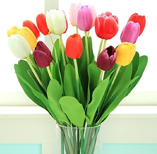 PU Kunstblumen Artificial Tulip Tulpen Flower Blumen Real Touch Arrangement Home Hotel Zimmer Hochzeit Party Ereignis Weihnachten Decor Hauptdekor GuanweuShop (Bunt) (Billig Mittelstücke Ideen)