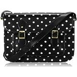Ladies Black White Spotty Polka Dot Designer Satchel Handbag