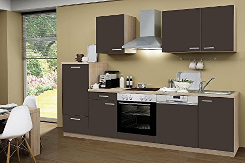 idealShopping GmbH Küchenblock ohne Elektrogeräte Classic 280 cm in lava matt (Geschirrspüler geeignet)