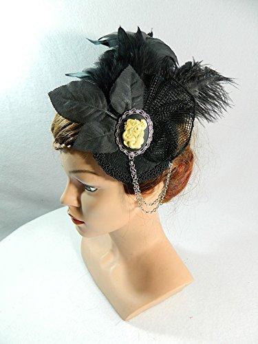 romantischer Fascinator schwarz Federn Gothic Steampunk Burlesque Tribal Fusion Headpiece Haarschmuck Damenhut (Kostüme Die Weibliche 50)