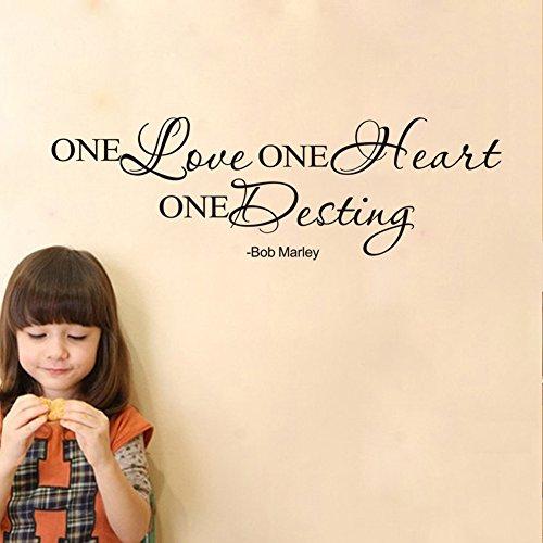 MEIJING Wandtattoo Wandaufkleber Schriftzug Zitat Aufkleber One Love One Heart One Destiny Bob Marley Eine Wand Zitat Liebe ein Herz ein Schicksal Bob Marley Quotes Saying Mural Tapete (Herz Marley-one Bob)