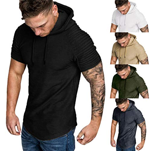 VJGOAL Herren T Shirt Slim Fit Große Größen Klassisch Kurzarm Blouse Einfarbig Freizeit Streifen Falten Mit Kapuze Men Top M-3XL Panda Womens Raglan Hoodie