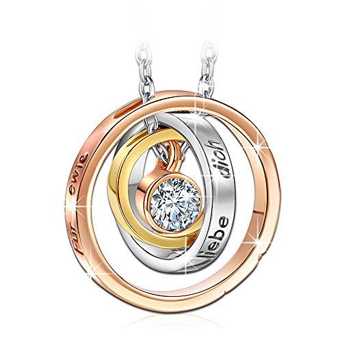 Kami Idea Mama Ich Liebe Dich Gravierte Damen Kette Kreis Halskette mit Anhänger Rosé Vergoldet mit Kristall von Swarovski Geschenke zum Geburtstag Weihnachten Jubiläum Mutter Frauen Sie Ihr