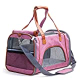 HLYMNB Pet Carrier Bag Flax Luxury Breathable Travel Backpack for Small Dog Foldable Cat Carrier Dog Bag 5 Color Pet Supplies