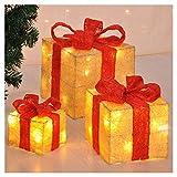 LED-Geschenkboxen 3er Set mit 40 LED's - LED Geschenk Boxen Weihnachtsbeleuchtung Fenster Weihnachten Deko Tannenbaum