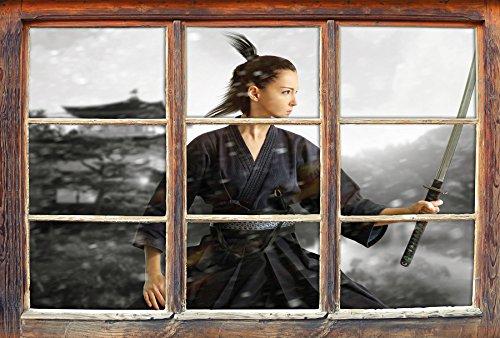 Samurai-Kriegerin im Schneesturm B&W Detail Fenster im 3D-Look, Wand- oder Türaufkleber Format: 62x42cm, Wandsticker, Wandtattoo, (Krieger Ninja Frau)
