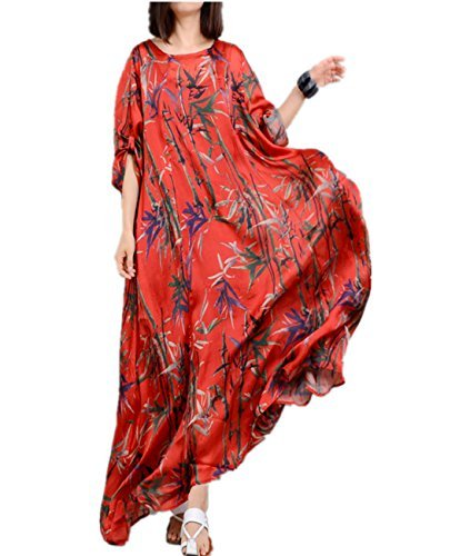 Yesno JO1 Women Long Loose Maxi Sexy Swing Dress 100% Silk 'Bamboo' Printed Roll-up Sleeve Summer Beach/Slip (L, Red)
