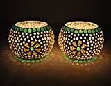 #10: TiedRibbons® Green Fushion Mosaic Glass TeaLight Holder Votive Set of 2(Glass) | diwali items for decoration | tealight holder for home decoration | lightings decorations for diwali | corporate gifts for clients