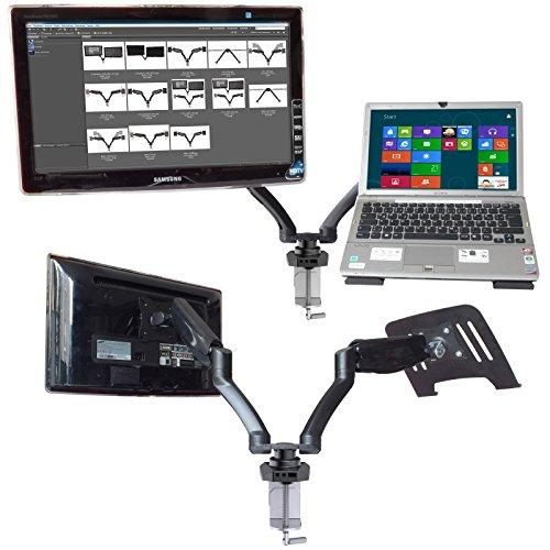 2 Arm Tischhalter und Ablage-Platte Doppel-Arm TV Flatscreen Bildschirm Netbook Notebook Tischhalterung Halter Modell: LT13-IP3B