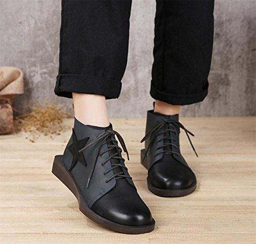 Chaussures Pour Femmes Hiver Nubuck En Cuir Plat Casual Retro Martin Bottes Couleurs Mélangées Size35to39 Bleu