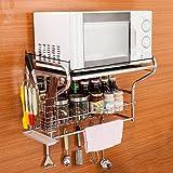 Küchenregale WSSF 304 Edelstahl Küche Mikrowelle Ofen Rack Wandmontiert Haushalt Küchenzubehör Gewürz (Stil Optional) (Farbe : Style 2)