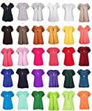 Made By Malaika® Womens Plus Size Frill Necklace Gypsy Ladies Loose Fit Tunic Short Sleeve Long V Neck Tops UK 8-22