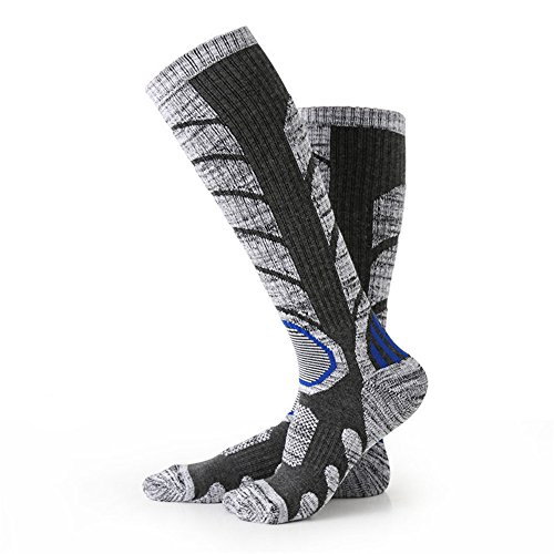 Nexlook Calzini per scarponi da sci da uomo, Arrampicata Snowboard esterno, Calze in cotone per sport invernali (35-39) Grigio
