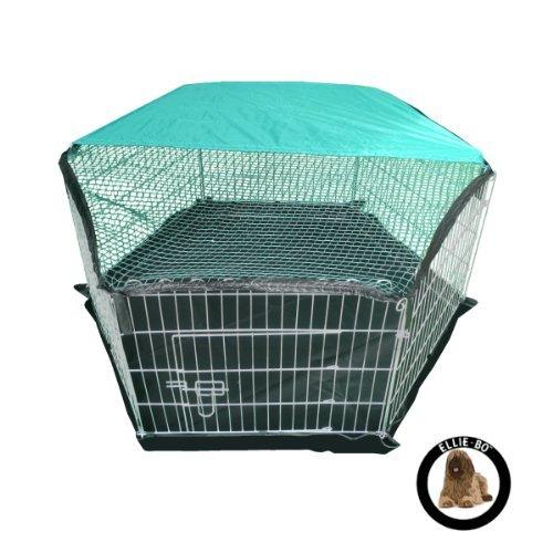 Bild von: Ellie-Bo Laufstall für Hundewelpen, für drinnen und draußen, leichtgewichtig, verzinkt, mit Netz als Dach, 6Teile