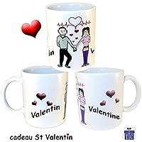 Texti-cadeaux-Mug Amoureux à personnaliser avec Prénom exemple Valentin et Valentine