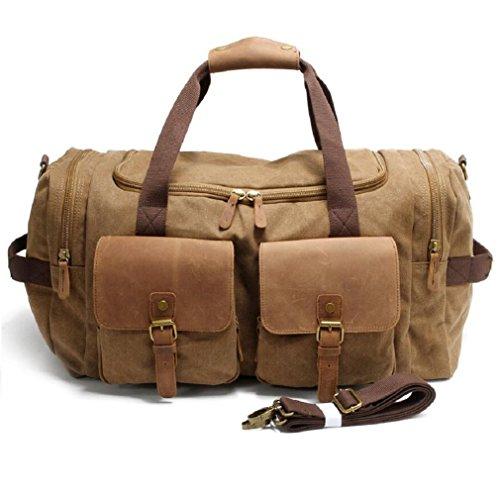 ZC&J Outdoor 36-55L Kapazität Gepäck Tasche Segeltuch Schulter Messenger Beutel Handtasche, mit zwei Taschen, langlebige Verschleiß Anti-Kratzer Handtasche C