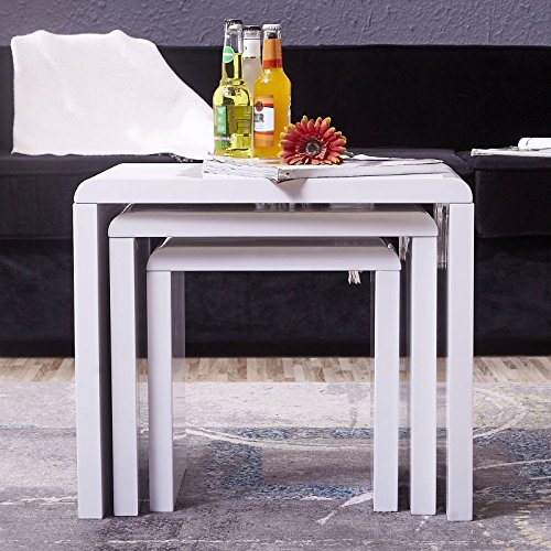 white side tables for living room. UEnjoy High Gloss Nest of Coffee Table Side Living Room White