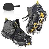 AGPTEK Crampones Antideslizante Crampones Nieve Hielo 18 Dientes Claws de Acero Inoxidable con Velcros y Bolsas, para Hombre y Mujer, M/L/XL