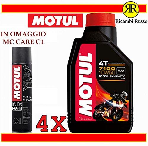 Motul 7100 10w50 olio motore moto 4 tempi litri 4 + OMAGGIO MC Care C1 Ch