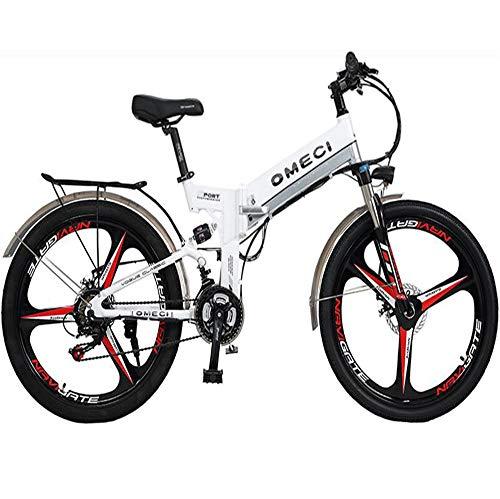 MYYDD Elektrisches Mountainbike, 26-Zoll-E-Bike-Citybike-Pendlerfahrrad mit 48V 10Ah Lithium-Batterie, 21-Gang-Getriebe,White