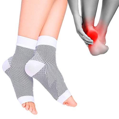 Cudon Compression Sock Sleeve w/ Arch & Ankle Support for Foot Care, Open Toe Compression Socks for Heel Protection, Unisex Feet Sleeves for Eases Swelling & Heel Spurs,Plantar Fasciitis, Foot Arthritis Pain - Ankle Brace Support, Improves Circulation, Relieve Pain by Reducing Friction Over the Heel - One Size, White ( 1 Pair / Pack)