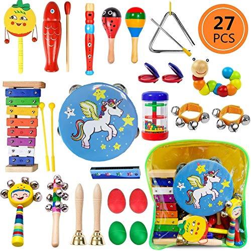 Yetech strumenti musicali per bambini, 27pezzi set strumenti musicali in legno per bambini strumenti a percussione giocattoli con borsa per il trasporto