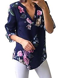 54c9b7c7290e4c KaloryWee Women's Tropical Floral Printed Cuffed Half Sleeve T-Shirt  Irregular Tops Blouse