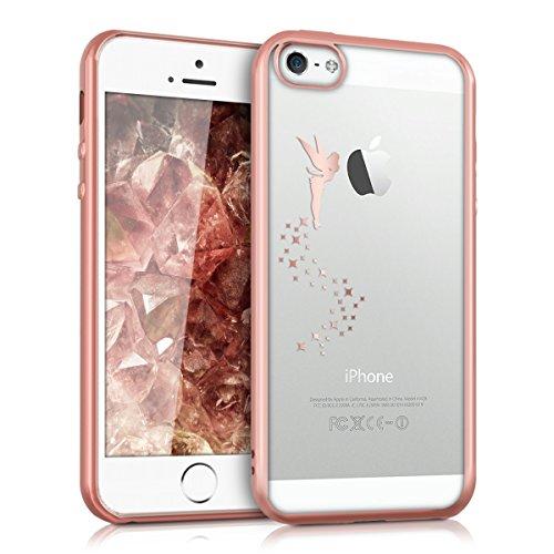 kwmobile Hülle für Apple iPhone SE / 5 / 5S - TPU Silikon Backcover Case Handy Schutzhülle - Cover klar Blume Kugel Design Pink Violett Transparent Fee Kupfer Transparent