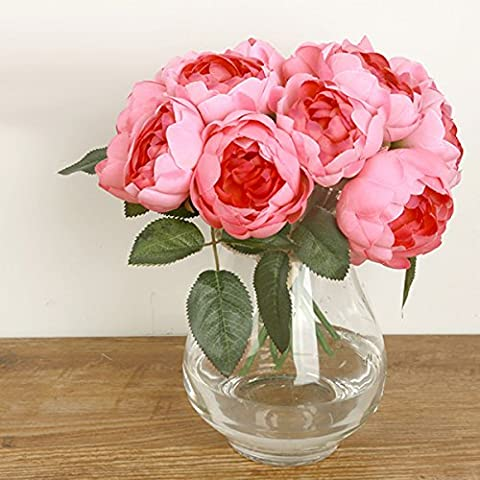 Butterme 1 Bunch of 6 Heads Artificial Peony Silk Flower Bouquet for Home Office Wedding Party Decorations (Deep Pink)