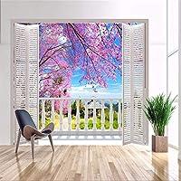 Papel Pintado Mural Fotopapel Tapiz Fotográfico Personalizado Estéreo 3D Murales Grandes Ventanas Falsas/Romántico Cereza