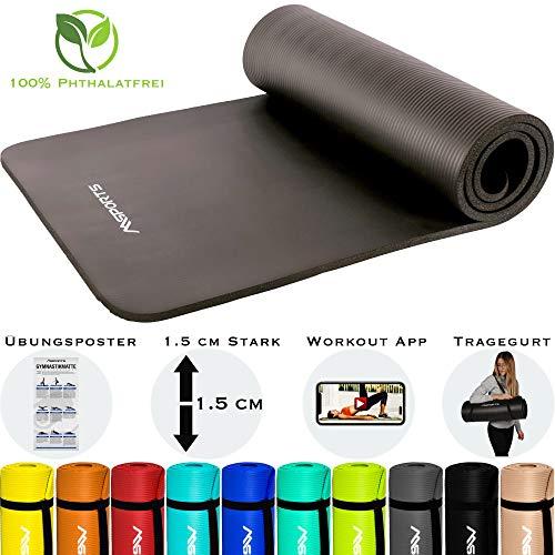 MSPORTS Gymnastikmatte Premium inkl. Tragegurt + Übungsposter + Workout App GRATIS I Fitnessmatte Anthrazit - 190 x 60 x 1,5 cm Hautfreundliche Phthalatfreie Yogamatte