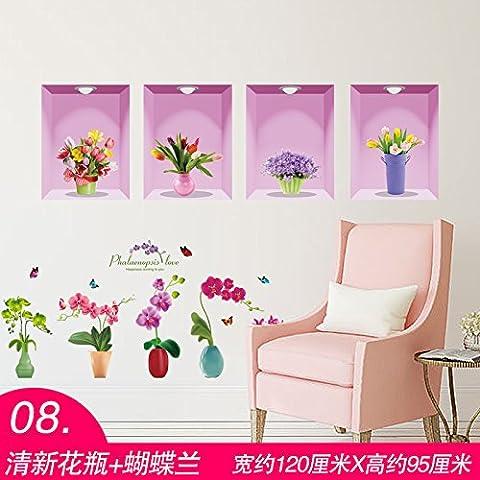 YBFQ Self Adhesive Chambre Salon Chaleureux Mur Chambres Sont Décorées Dans Un Des Vases À Fleurs Et L'Espèce D'Orchid Autocollant Mural