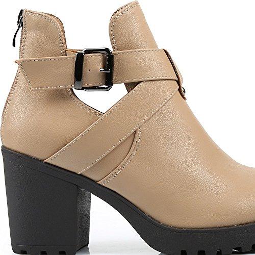 Ideal Shoes–Stiefelette Kunstleder à talon Dick und Gurtbändern Rosa Beige - Beige