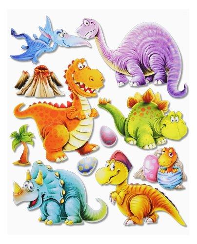 Preisvergleich Produktbild 3D Sticker Dinos Dinosaurier * Wandtattoo XXL * Deko für Schultüte , Wand , Tür