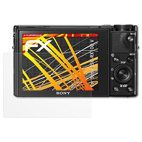 atFoliX Folie für Sony DSC-RX100 V Displayschutzfolie - 3 x FX-Antireflex-HD hochauflösende entspiegelnde Schutzfolie