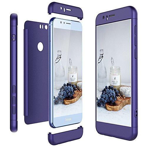 Huawei Honor 8 3-in-1 Ultra Dünn 360 Grad Körperschutz Telefon Kasten Harter Fall, Caselover Kratzer Beweisst Stoßsicherer Hülle PC Harte Schale Stoßstangen (5.2 Zoll), Lila