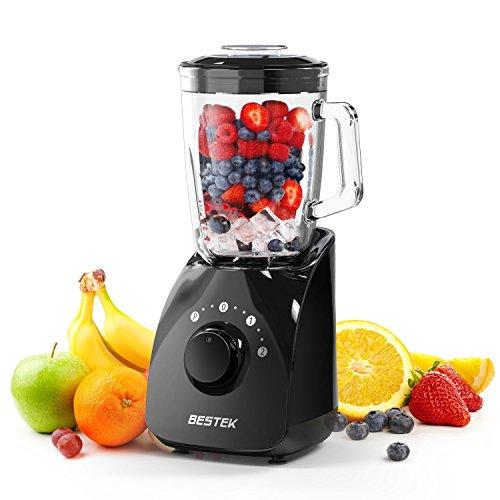 BESTEK Mixeur Bol en Verre de 1,5L sans BPA 750W Blender avec Poignée Soupe Smoothie Jus de Fruits Hachoir