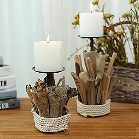 K&C Wood Pillar Candle Holder Tea Light Candle Holder Table Standing Candle Holder