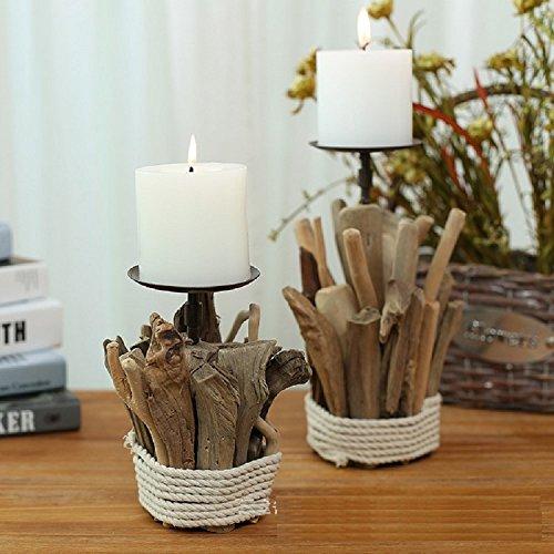 K&C En bois clair de thé porte-bougie titulaire thé bougie stand Centerpiece, cadeaux décoratifs et décoration