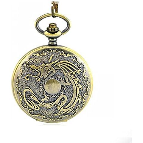 OUYANG Orologio da tasca al quarzo drago in rilievo - Drago Quarzo Orologio
