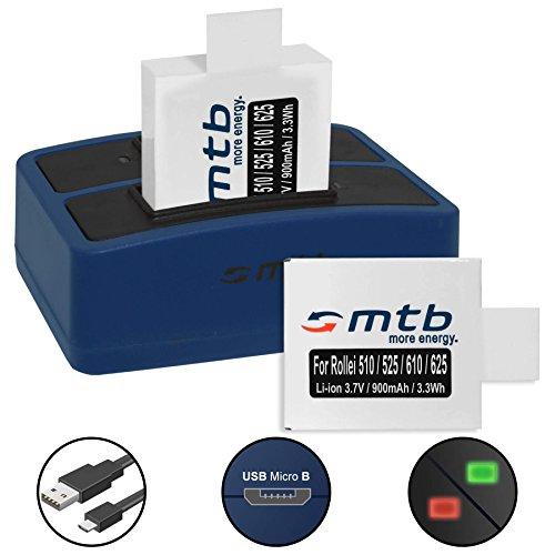 2 Akkus + Dual-Ladegerät (USB) für Rollei Actioncam AC 372, 510, 525, 610, 625 - inkl. Micro-USB-Kabel